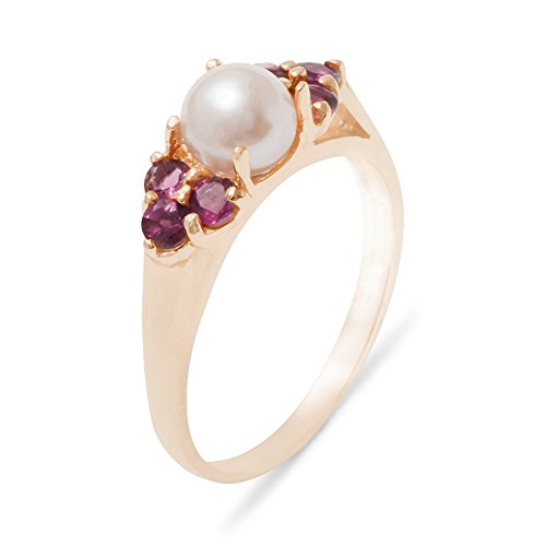 - LetsBuyGold 18k Rose Gold Cultured Pearl & Garnet Womens Cluster Ring - 9.25 - Size 9.25