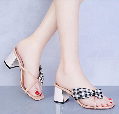 Sandals and slippers women's summer Korean version of the wild thick with slippers wear stylish high heels shoes Flat Sandals,Fashion sandals (Color : A, Size : 40) B