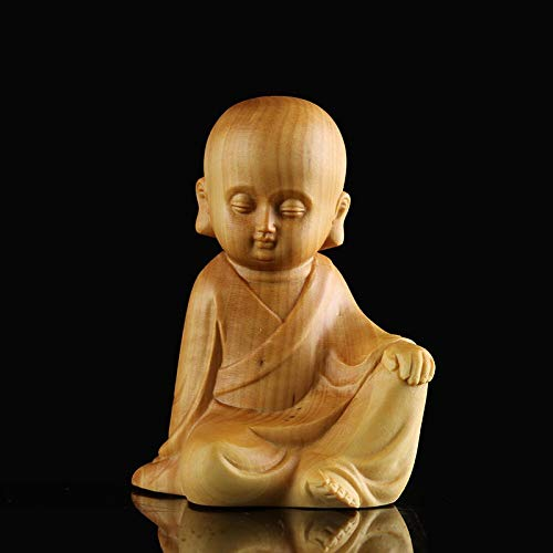 Kiartten Wooden Buddha Statue Lobular Solid Wood Bald Monk Zen Figurines Buddha Statue Wall Decors Home Carving Wood Ornaments Monks Statues for Decoration