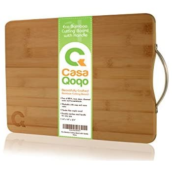 Bamboo Cutting Board 14x10 with Handle - Eco-friendly Wooden Chopping Board Made With Premium Organic Bamboo Wood – Durable and Light Weight Block. Free of BPA and Toxic Dyes