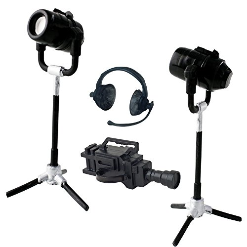 Set of 4 Plastic Toy Miniature TV Cameras, Lights and Headphones for Action Figures, Dioramas, Models
