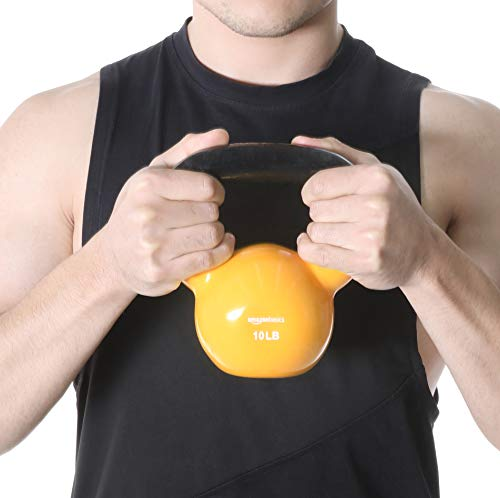 AmazonBasics Vinyl Kettlebell 2021 June Vinyl-coated iron kettlebell for fitness training Available in a variety of weights from 10 to 60 pounds (4.5 KGS to 27.2 KGS) Comes in a variety of eye-catching colors specific to weight