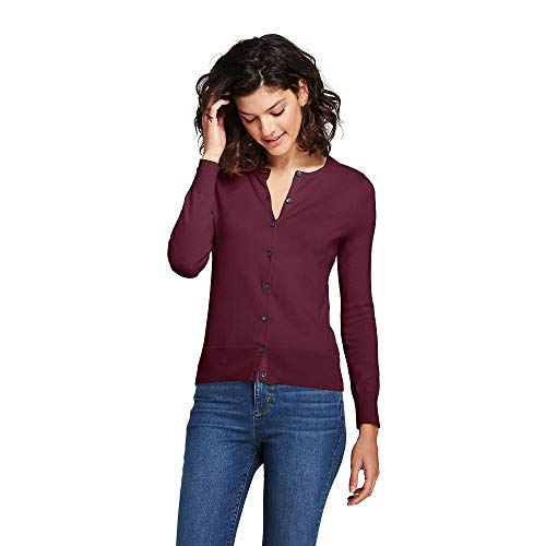 Lands' End Women's Tall Supima Cotton Cardigan Sweater, L, Deep Claret