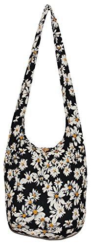 Black Flower Bohemian Hippie Hipster Hobo Boho Crossbody Shoulder Bag Daisy (DarkYellow)