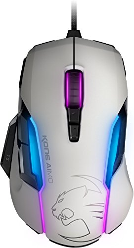 ROCCAT Kone AIMO Gaming Mouse – high Precision, Optical Owl-Eye Sensor (100 to 12.000 DPI), RGB AIMO LED Illumination, 23 programmable Keys, Designed in Germany, USB, White