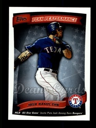 2010 Topps Peak Performance # 64 PP Peak Performance Josh Hamilton Texas Rangers (Baseball Card) Dean's Cards 8 - NM/MT Rangers