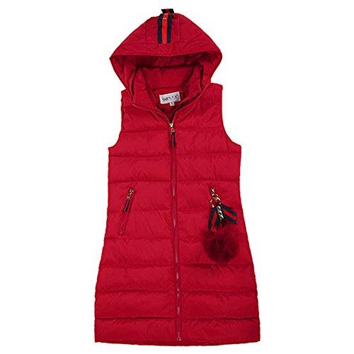 XFentech Invierno Chaleco para mujeres de Pluma Sin mangas Plumón largo Ropa con Capucha Capa Moda chaqueta abajo , Rojo
