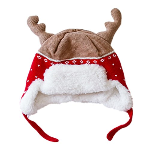 Home Prefer Baby Girl Boy Kid Christmas Hats Soft Cotton Brocade Knitted Cap Cute Elk Horn Winter Hat Red S