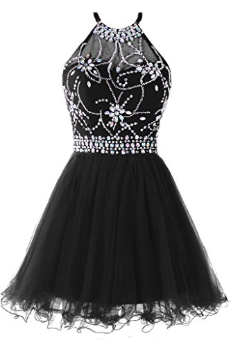 Musever Women's Halter Short Homecoming Dress Beading Tulle Prom Dress Black US 10