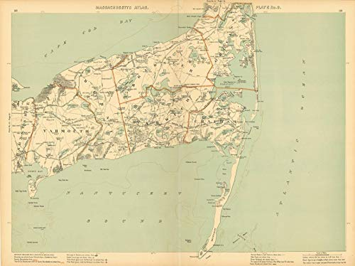 Historic Pictoric Map | Atlas of Massachusetts, Brewster & Cape Cod & Chatham & Dennis & Harwich & Orleans & Yarmouth 1904 Plate 009 | Vintage Poster Art Reproduction | 24in x 18in