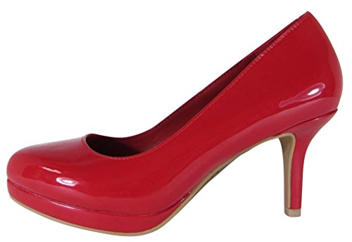 Image of Cambridge Select Women's Closed Almond Toe Comfort Padded Insole Mid Heel Dress Pump (6 B(M) US, Lipstick Patent)