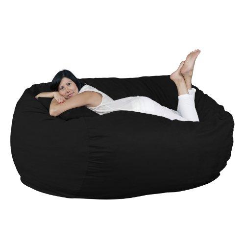 FUGU Big Bean Bag Chair, Premium Foam Filled 6 XL, Protective Liner Plus Removable Machine Wash Black Cover