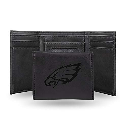 Rico Industries NFL Philadelphia Eagles Laser Engraved Tri-Fold Wallet, Black ()
