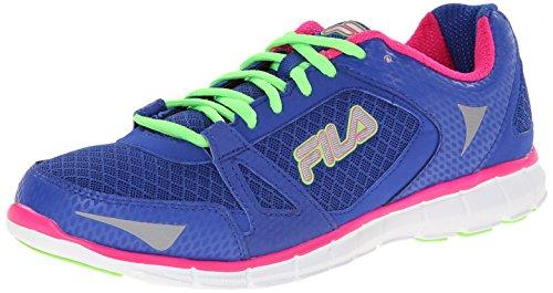 Fila Women's Memory Synergy Running Shoe, Dazzling Blue/Pink Glo/Green Gecko, 7 M US