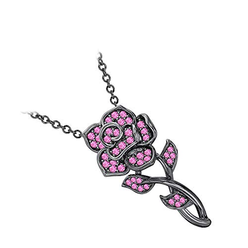 (RUDRAFASHION Beautiful Rose Floral Pendant Necklace Pink Sapphire 14k Black Gold Over .925 Sterling Silver for Womens)