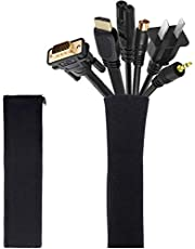 [2 Pack] JOTO Cable Management Sleeve, 19-20 Inch Cord Organizer System with Zipper for TV Computer Office Home Entertainment, Flexible Cable Sleeve Wrap Cover Wire Hider System -Black