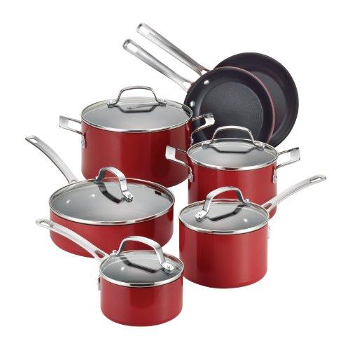 Circulon Genesis Aluminum Nonstick 12-Piece Cookware Set, Red