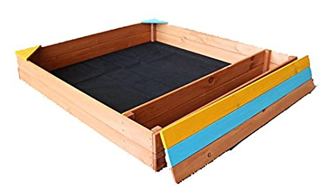 Oliver And Smith   Large Natural Cedar Square Wood Sandbox With Storage  Bench   Sand Pit