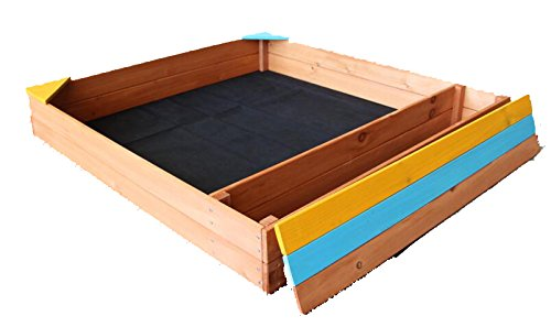 Oliver and Smith - Large Natural Cedar Square Wood Sandbox With Storage Bench - Sand Pit - 40