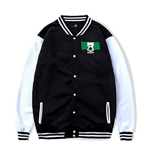 Unisex Baseball Jacket Uniform Soccer Ball with Nigeria Flag Boys Girls Hoodie Sweatshirt Sweater Coat -