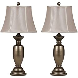 Ashley Furniture Signature Design - Ruth Metal Traditional Table Lamp - Bell-Shaped Shades - Set of 2 - Antique Gold