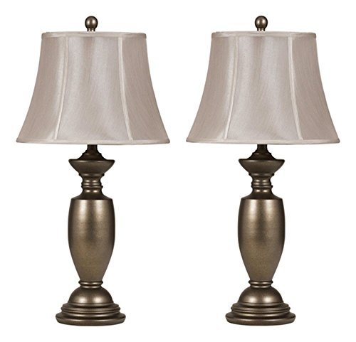 (Ashley Furniture Signature Design -  Ruth Metal Traditional Table Lamp -  Bell-Shaped Shades - Set of 2 - Antique Gold)
