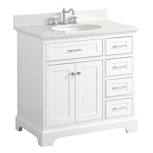 41iHEAL0lIL - Aria 36-inch Bathroom Vanity (Quartz/White): Includes a White Cabinet with Soft Close Drawers, Quartz Countertop, and White Ceramic Sink