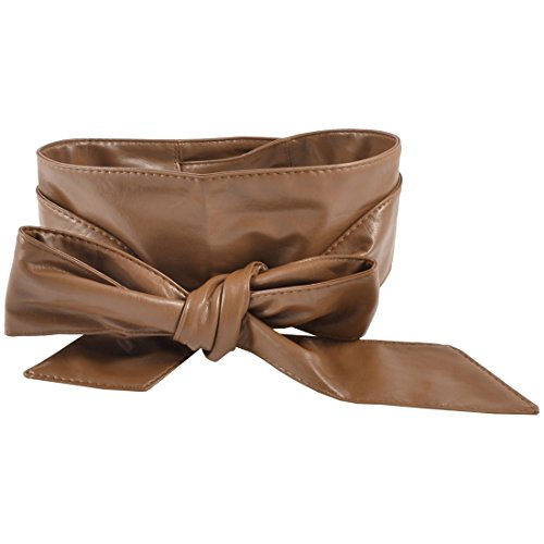 Ladies Faux Leather Self Tie Bowknot Wide Waist Band Sash Obi Belt