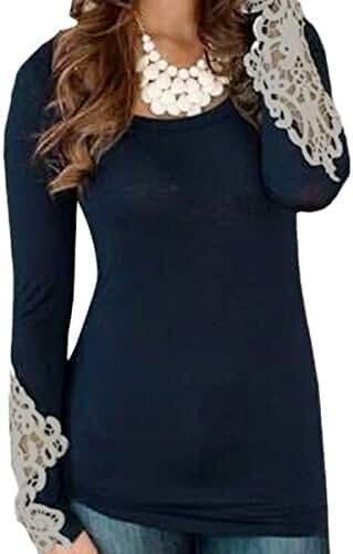 ZANZEA Women's Embroidery Lace Long Sleeve Crew Neck Tops Slim Blouse T-Shirt