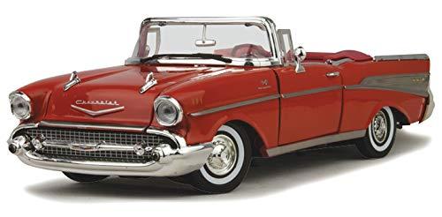 Motormax 73175 1957 Chevrolet Bel Air Convertible Red 1/18 Diecast Car Model