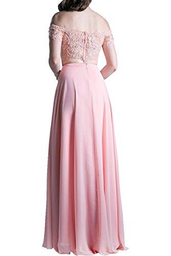 Promkleider Abendkleider Langes Damen Charmant Kurzarm Spitze Abschlusskleider Rosa Wassermelon Ballkleider n0wOwvtIq