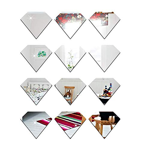 YINASI 12PCS Geometric Diamond Shape Wall Stickers, 3D Mirror Wall Stickers Removable DIY Acrylic Wall Decor for Living Room Bathroom Dining Room,Silver
