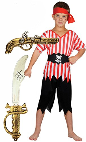Party Central Pirate Boy Fancy Dress Costume With Sword & Gun Age 4-12 (10-12 Years) (Fancy Dress Swords)