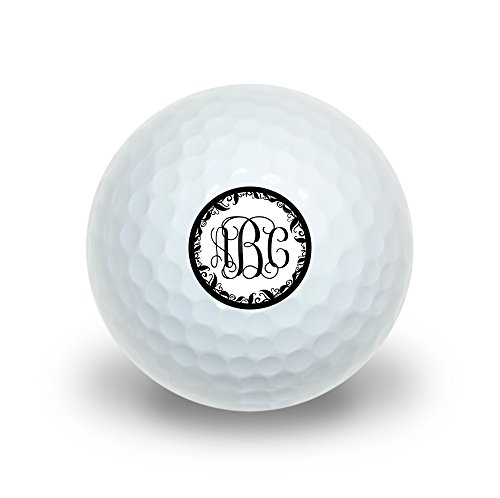 Graphics and More Personalized Custom Novelty Golf Balls 3 Pack - Monogram Fancy Font Vine Outline