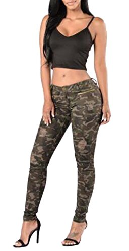Women's Juniors Slim Fit Destroyed Ripped Distressed Skinny Jeans Pants Green