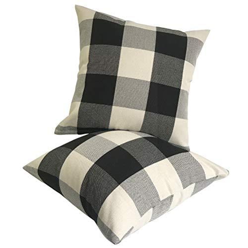 Pillow Checkered (ULOVE LOVE YOURSELF 2Pack Rustic Tartan Checkered Throw Pillow Covers Farmhouse Decor Retro Buffalo Check Plaid Cotton Linen Decorative Cushion Cover Throw Pillowcase 18 x 18 Inch,Black&White)
