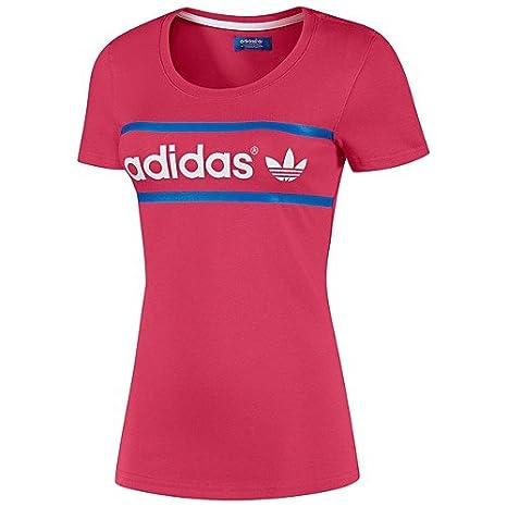 7aaffda5db54fc Amazon.com  Adidas Heritage Logo Women`s Tee - Blaze Pink White Blue ...
