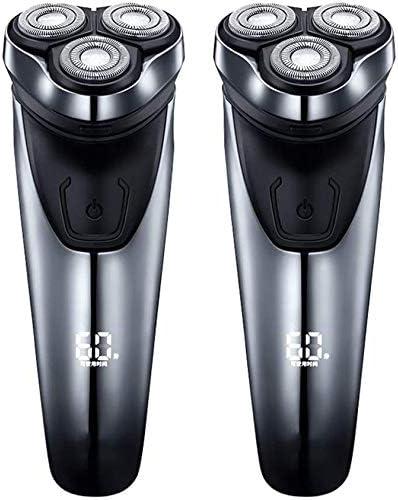 2 Paquetes De Afeitar Eléctrica De Afeitar La Barba Profesional Trimmer Para Hombres USB Inalámbrico Recargable Rotatorio Eléctrico De La Máquina De Afeitar Con Recortadores De Pop-Up