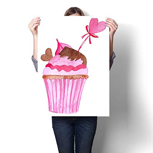 Anshesix Modern Canvas Painting Wall Art Watercolor Valentine Cupcake Wall Stickers 32