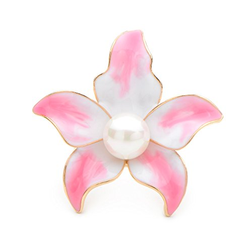 WULI & BABY Pink Enamel Lily Flower Brooches Weddings Banquet Brooch Pins for Women and Men