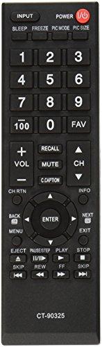 NEW Toshiba LCD TV Remote Control CT-90325 Supplied with models: 19AV600 19C10 19C100 19L4200 19SL400 19SL410 22AV600 22C10 22C100 22SL400 24L4200 24SL410 26C10 26C100 26SL400 32C10 32C100 32C110 32C120 32DT1 32DT2 32E20 32E200 32FT2 32L4200 32SL400 32SL410 37E20 37E200 40E20 40E200 40E210 40E220 40FT1 40FT2 40L5200 40SL412 46G310U 46L5200 46SL412 50L2200 50L5200 55G310 55HT1 55S41 55SL412 65HT2
