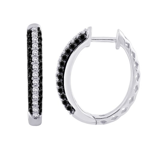 Black and White Diamond Hoop Earrings in 10K White Gold (3/4 cttw) by KATARINA (Image #3)