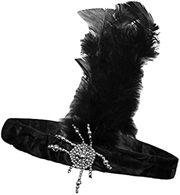 Black Long Gloves with Feathers Charleston Flapper 1920 Burlesque Fancy Dress