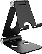 Simpeak Mobiele Telefoonstandaard Verstelbaar Opvouwbare Aluminium Tablet Standaard Verstelbaar Compatibel met 4-10 inch Mobiele Telefoons en Tablets, Zwart