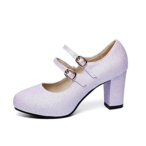 BalaMasa Womens Chunky Heels Double Breasted Low-Cut Uppers Imitated Leather Pumps-Shoes Lightpurple GyLki