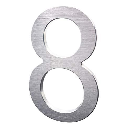 8 Inch Modern House Numbers- Premium Aluminum Floating Home Address Number withElegant & Sophisticated Brushed Finish, Silver, Number 8