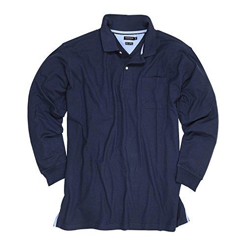 Dunkelblaues Pique-Poloshirt (langarm) von Redfield in Übergrößen