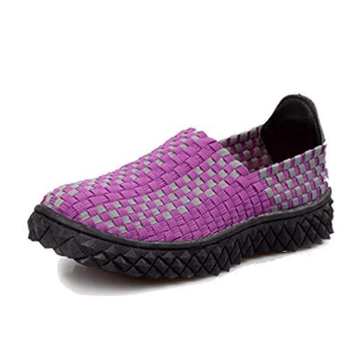 Las de 38 Mujeres la Zapatos Eu a Mano Perezosos Gente SED Tejidos Zapatos de Diarios qgxwvnOX1R