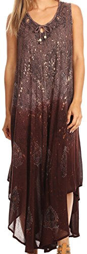 Sakkas 17114 - Priscilla Sleeveless Stonewashed Ombre Tie Front Dress/Cover Up - Chocolate - OS
