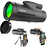 Monocular Telescope, BUDDYGO 12x50 High Power Low Night Vision Waterproof Spotting Scope for Adults with Smartphone Adapter and Tripod Waterproof Fogproof Shockproof for Bird Watching Hunting